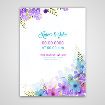 Свадебный шаблон пригласительный билет с цветами.