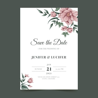 Wedding invitation card template with flowers