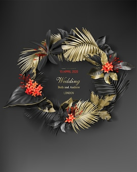 Wedding invitation card template with frame of tropical black and gold leaves