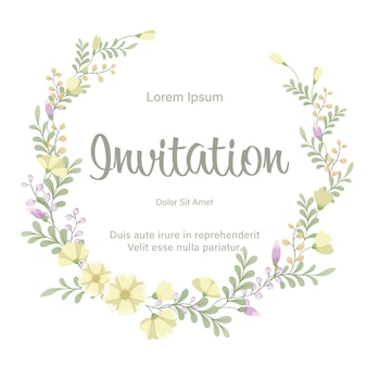 Wedding invitation card template with fresh flowers wreath