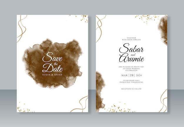 キラキラ水彩と抽象的なスプラッシュと結婚式の招待カードテンプレート