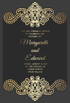 Wedding invitation card template with gold foil pattern. laser cut border design.
