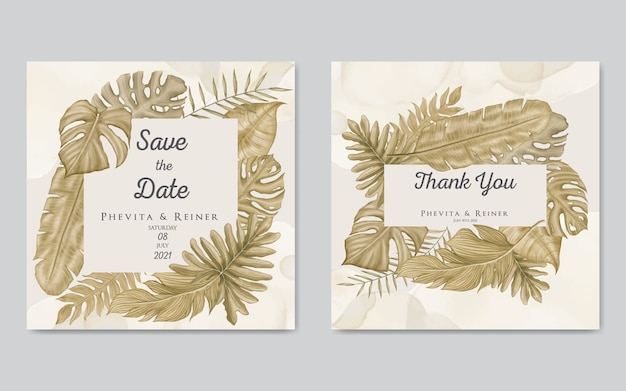 Wedding invitation card template with gold leaves frame