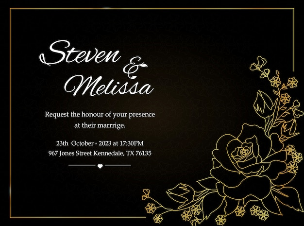 Wedding invitation card template with golden flower