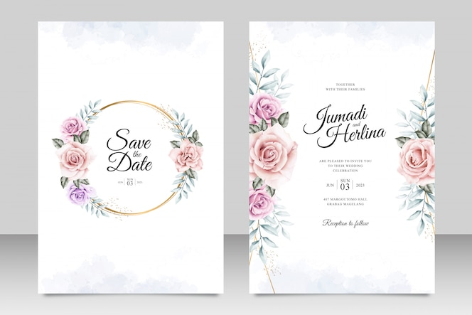 Wedding invitation card template with golden frame floral watercolor