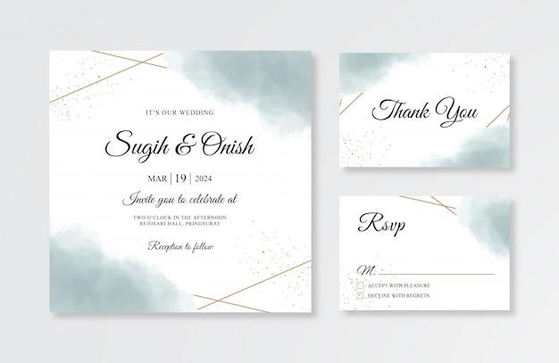 Шаблон свадебного приглашения с золотым геометрическим и акварельным всплеском