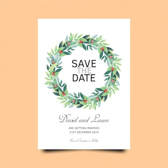 Wedding invitation card template with green leaves template