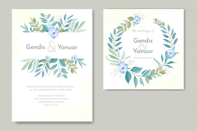 緑の葉との結婚式の招待カードのテンプレート