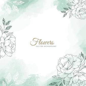 녹색 수채화 배경 및 손으로 그린 꽃 그림 결혼식 초대 카드 템플릿