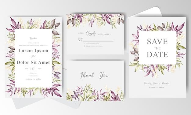 緑の配置花のフレームと結婚式の招待カードテンプレート
