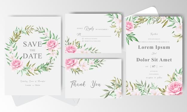 緑の水彩花の花輪を持つ結婚式の招待カードテンプレート
