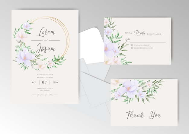 Wedding invitation card template with greenery watercolor floral wreath