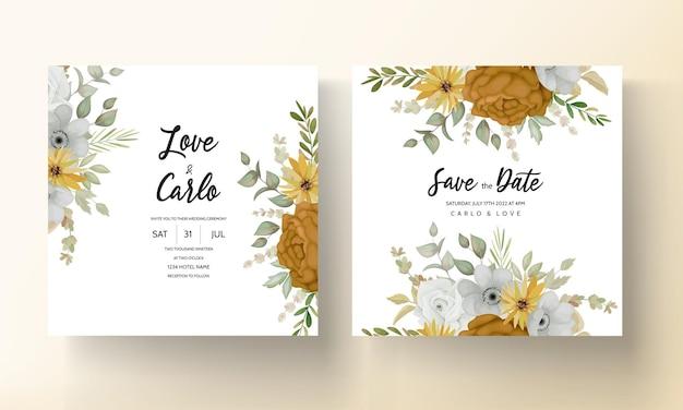 手描きの秋の秋の花の結婚式の招待カードテンプレート
