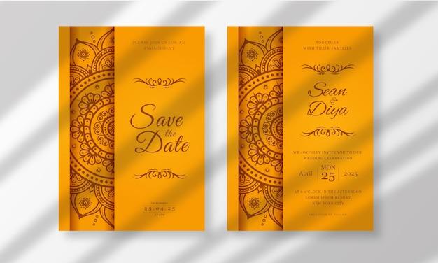 手描きのマンダラを使った結婚式の招待カード テンプレート