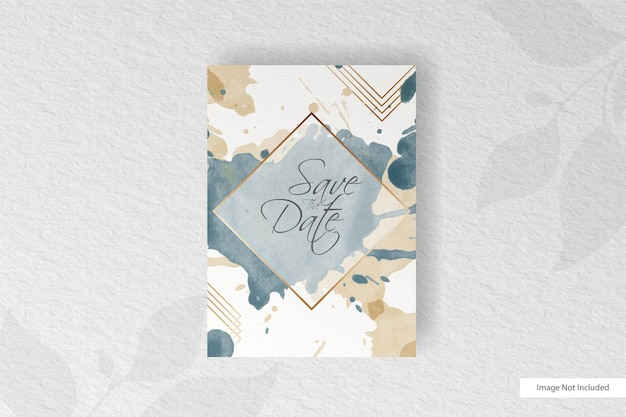 Wedding invitation card template with hand drawn painted abstract