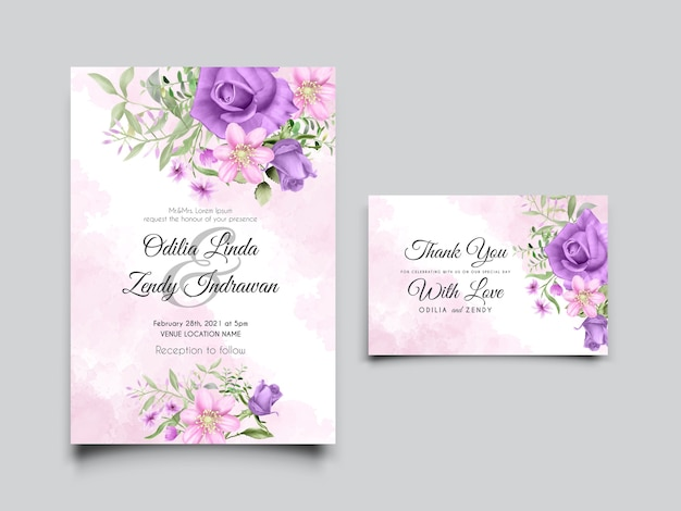 Wedding invitation card template with hand drawn pink and purple roses