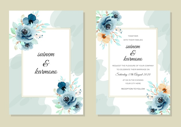 Wedding invitation card template with indigo flower watercolor