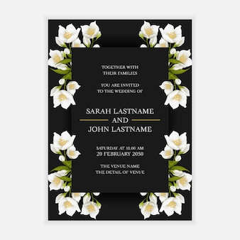 Wedding invitation card template with jasmine flower decoration