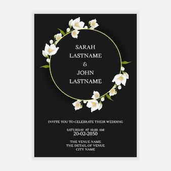 Wedding invitation card template with jasmine flower wreath