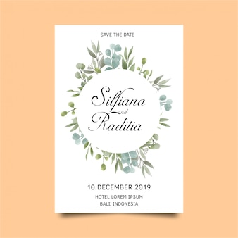 Wedding invitation card template with leaves in watercolor style