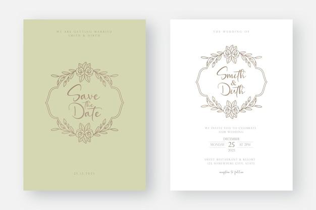 라인 아트 꽃 결혼식 초대 카드 서식 파일