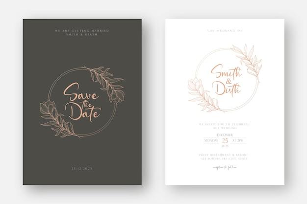線画花柄の結婚式の招待カードテンプレート