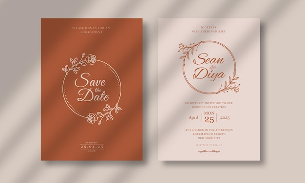 ライン アート花柄の結婚式の招待カード テンプレート