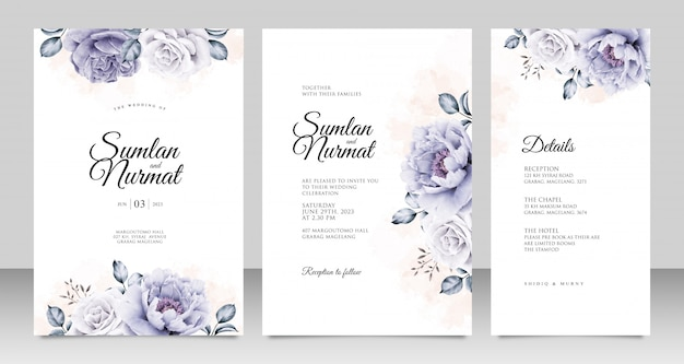 Wedding invitation card template with peonies aquarel