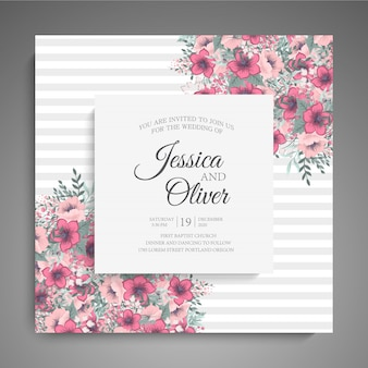 Wedding invitation card template with pink flowers.
