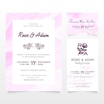 Wedding invitation card template with pink liquid marble design