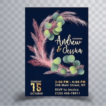 Wedding invitation card template with pink pampas grass
