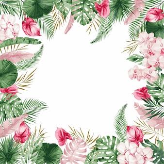 ピンクの春の花、イラストと結婚式の招待カードテンプレート。