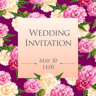 Modello di carta di invito di nozze con peonie rosa e bianche su sfondo viola.