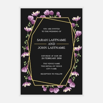 Wedding invitation card template with purple flower frame