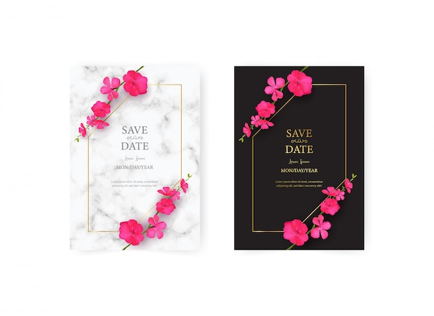 Wedding invitation card template with realistic of beautiful pink flower set