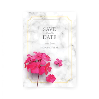 Wedding invitation card template with realistic of beautiful pink flower on white marble