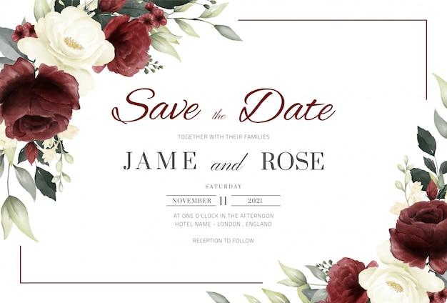 빨간색과 흰색 장미 수채화와 프레임 결혼식 초대 카드 템플릿