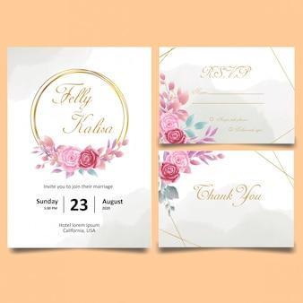 バラと黄色の水彩画と結婚式の招待カードテンプレート