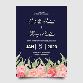 Wedding invitation card template with rose flowers and blue background