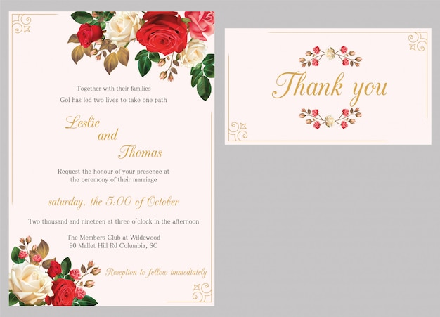 Wedding invitation card template with rose