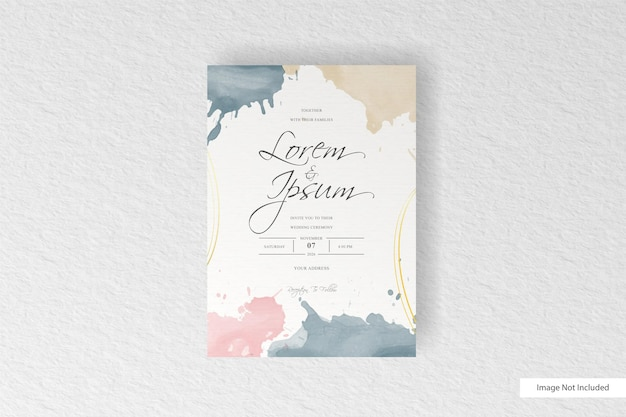 Wedding invitation card template with set of hand painted abstract