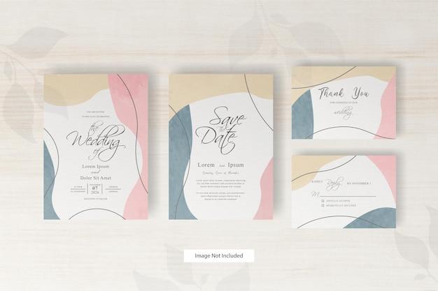 손으로 그린 추상의 세트와 함께 결혼식 초대 카드 템플릿