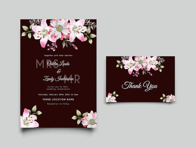 柔らかいピンクのユリと結婚式の招待カードのテンプレート