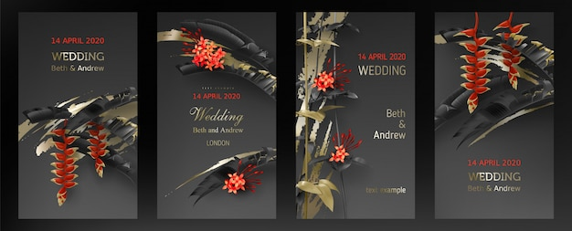 Wedding invitation card template with tropical black and gold leaves