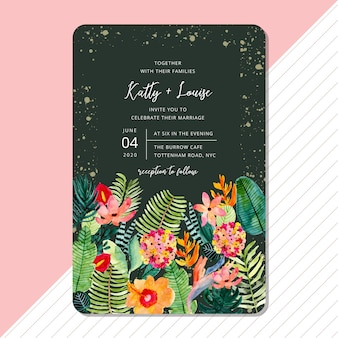 Wedding invitation card template with tropical jungle watercolor design