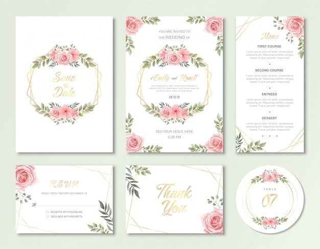 Wedding invitation card template with vintage watercolor floral