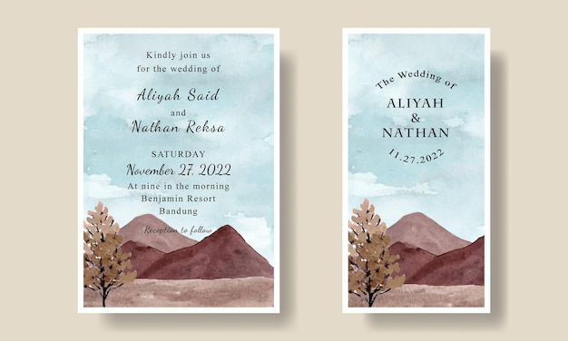 Wedding invitation card template with watercolor blue sky mountain background