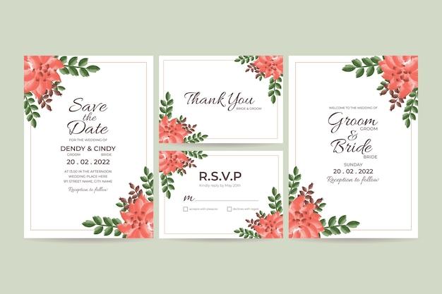 Шаблон свадебного приглашения с акварельной цветочной рамкой