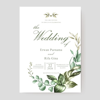 Wedding invitation card template with watercolor floral and leaves