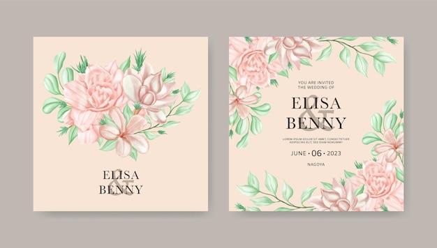 水彩花飾りの結婚式の招待カードテンプレート